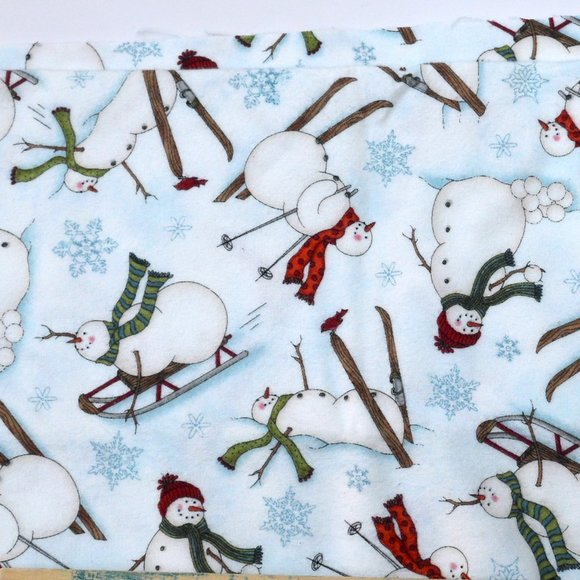Snowman Flannel Fabric by the Yard